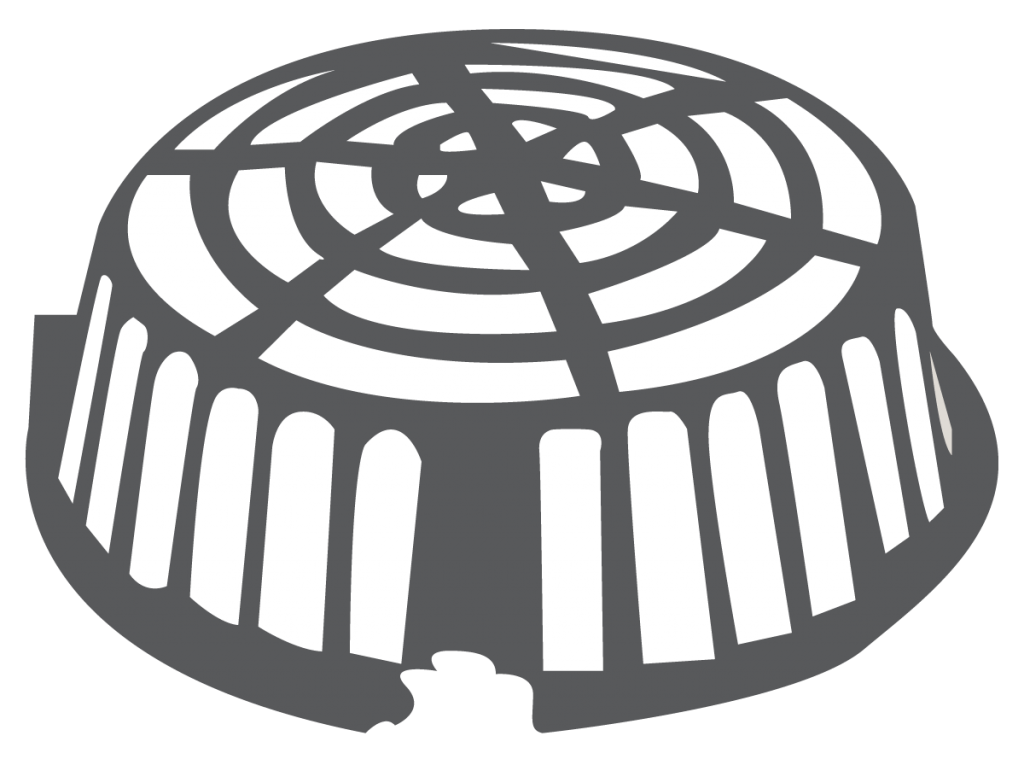 black and white illustration of a drain basket